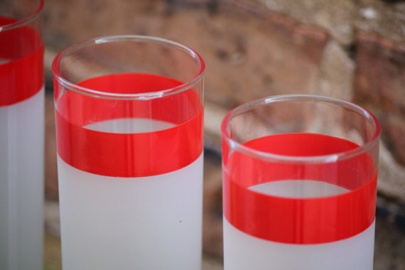 Vintage Red Stripe Highballs